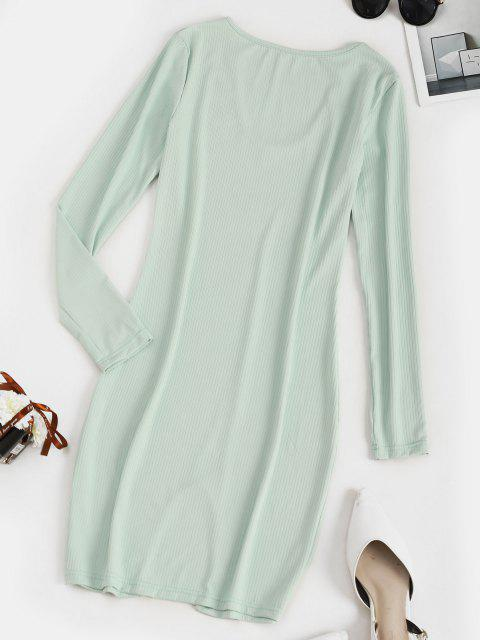 new Ribbed Slit Bodycon Long Sleeve Dress - LIGHT GREEN XL Mobile