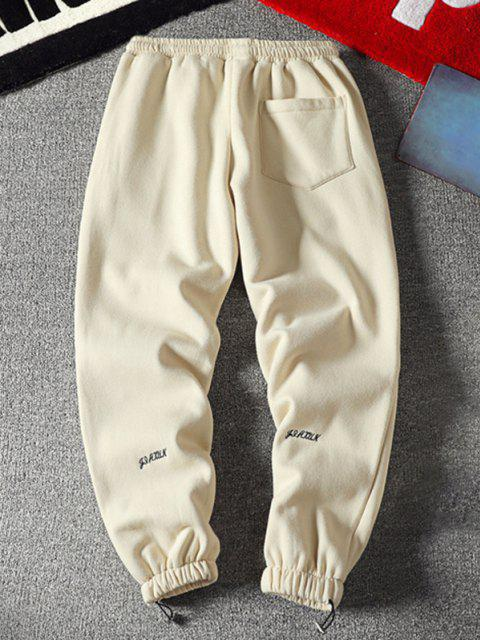 Pantalones Jogger de Lana con Bordado de Letras - Beige XS Mobile
