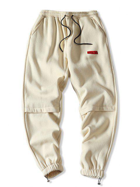 Pantalones Jogger de Lana con Bordado de Letras - Beige M Mobile