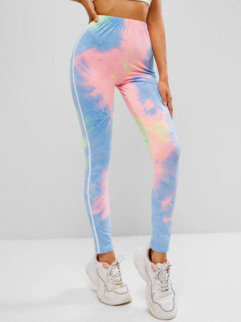 outfit ZAFUL Tie Dye High Waisted Tape Side Leggings - MULTI-A M Mobile
