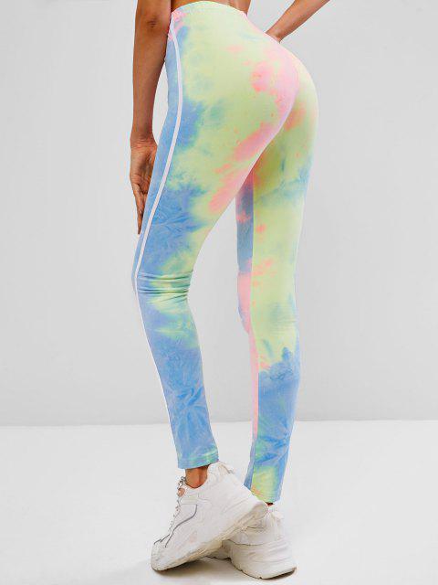 women ZAFUL Tie Dye High Waisted Tape Side Leggings - MULTI-A XL Mobile