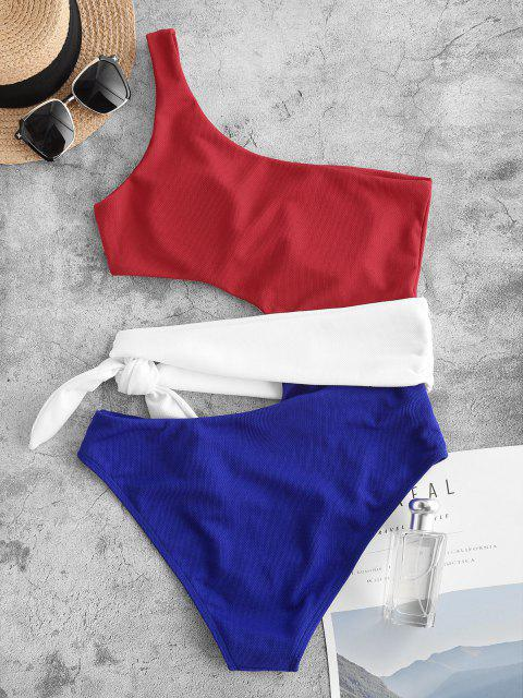 sale ZAFUL One Shoulder Colorblock Textured Cutout One-piece Swimsuit - BLUE XL Mobile