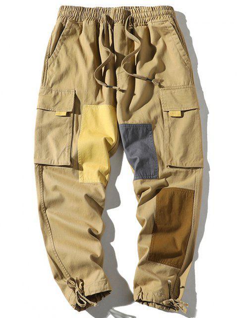 Pantalones de Carga con Solapa de Bolsillo de Bloqueo de Color - Caqui XS Mobile