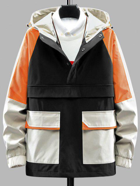 ladies Color Blocking Hooded Graphic Pullover Cargo Jacket - BLACK 2XL Mobile
