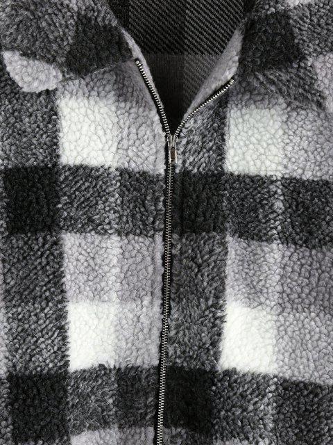 ZAFUL Abrigo Teddy de Hombro Caído a Cuadros - Negro S Mobile