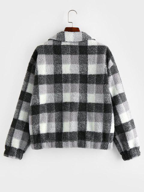 ZAFUL Manteau Zippé à Carreaux à Goutte Epaule - Noir XL Mobile