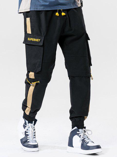 Pantalones de Carga con Estampado de Letras con Bloqueo de Color - Negro XL Mobile