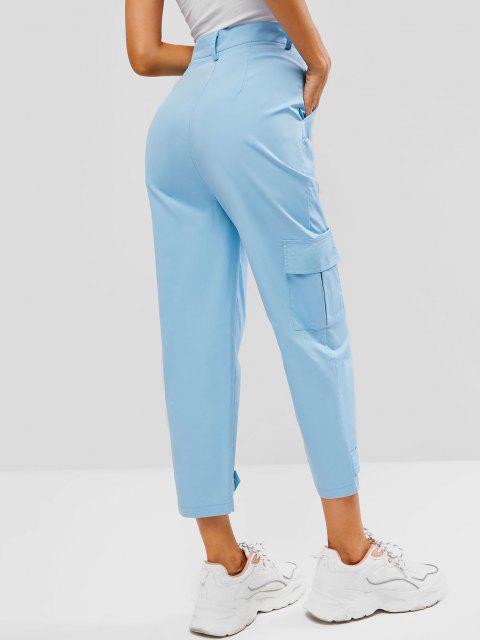chic High Waisted Pocket Ninth Cargo Pants - LIGHT BLUE S Mobile