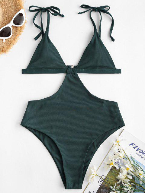 ZAFUL Ribbed Backless Tie Shoulder Trikini Swimsuit - ديب غرين XL Mobile
