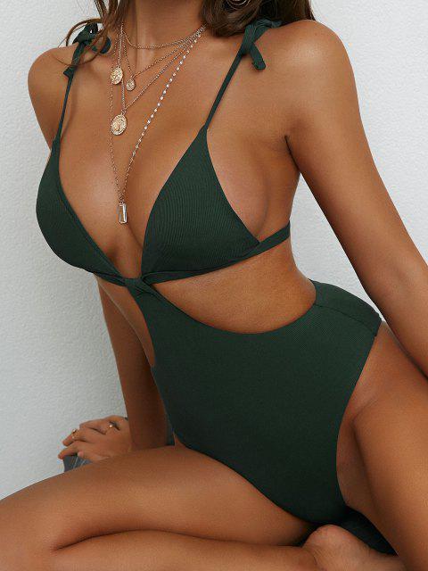 Costume da Bagno Intero di ZAFUL a Costine con Spalline Annodate Senza Schienale - Verde intenso XL Mobile