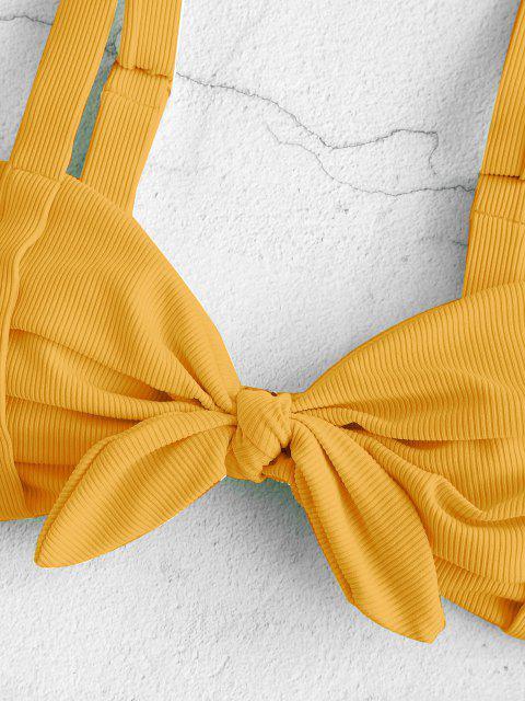 fashion ZAFUL Ribbed Ruched Tied Ladder Cut Braided Straps Bikini Swimwear - DEEP YELLOW S Mobile