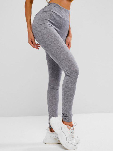 affordable ZAFUL Marled Crisscross Gym Leggings - DARK GRAY M Mobile