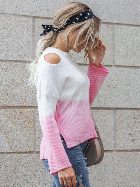 outfits Ribbed Two Tone Slit Cold Shoulder Sweater - LIGHT PINK S Mobile