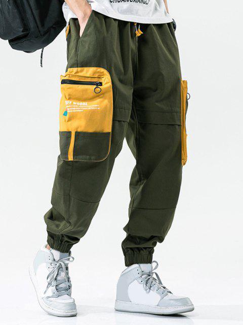 Farbblock Patchwork Tasche Buchstabedruck Cargo Hose - Armeegrün 2XL Mobile