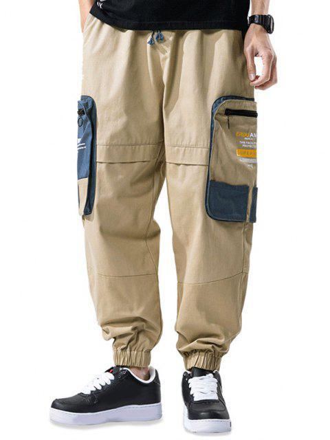 buy Colorblock Patchwork Pocket Letter Print Cargo Pants - KHAKI 4XL Mobile