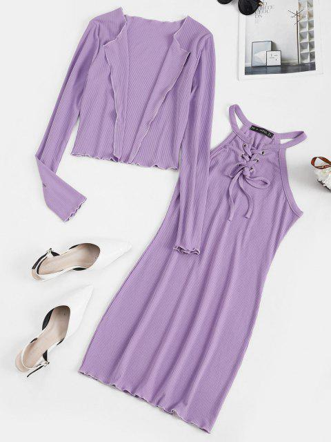buy Lace Up Ribbed Dress with Open Front Cardigan - LIGHT PURPLE L Mobile