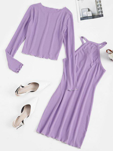hot Lace Up Ribbed Dress with Open Front Cardigan - LIGHT PURPLE M Mobile