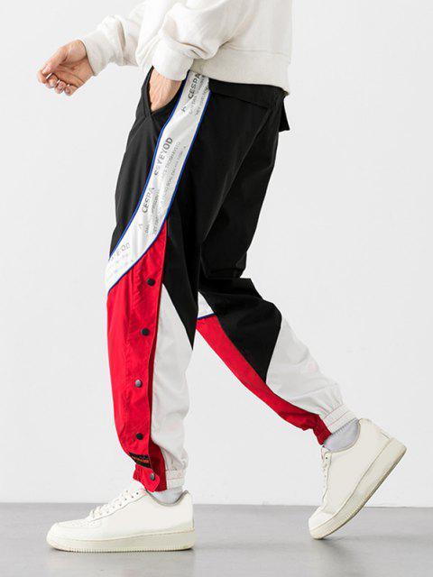 hot Colorblock Panel Letter Print Snap Button Pants - RED 2XL Mobile