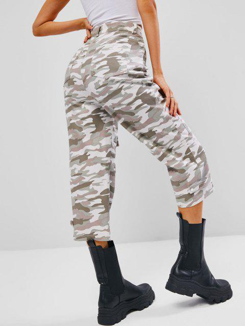 unique Seam Detail Pocket High Waisted Camo Jeans - LIGHT GREEN L Mobile