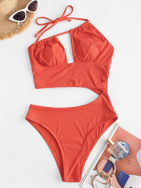 ZAFUL One Shoulder Ribbed Cutout Ruched One-piece Swimsuit - أحمر M Mobile
