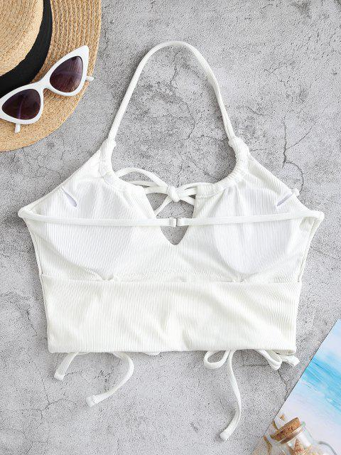 ZAFUL Halter Ribbed Tie Cinched Cropped Bikini Top - أبيض S Mobile