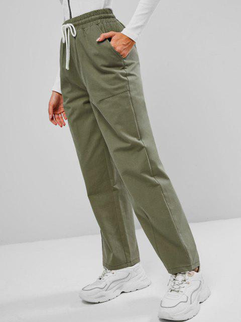 Tunnelzug Taille Tasche Hose mit Weitem Bein - Grün XL Mobile