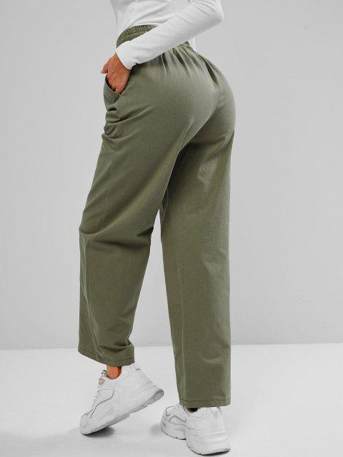 women's Drawstring Waist Pocket Wide Leg Pants - GREEN S Mobile