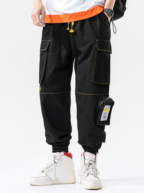 Pantalones de Carga de Patchwork con Multi-bolsillo con Estampado de Letras - Negro 4XL Mobile