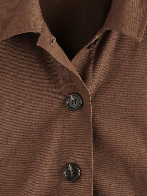 ZAFUL Hängender Schulter Knopf Einfarbige Jacke - Tiefkaffee S Mobile