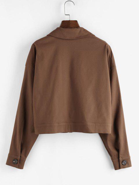 ZAFUL Drop Shoulder Button Up Plain Jacket - القهوة العميقة S Mobile