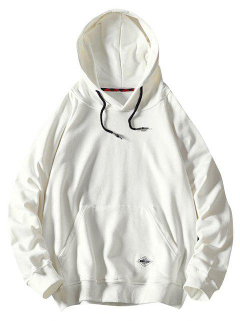 women Front Pocket Letter Patched Oriental Graphic Hoodie - WHITE L Mobile