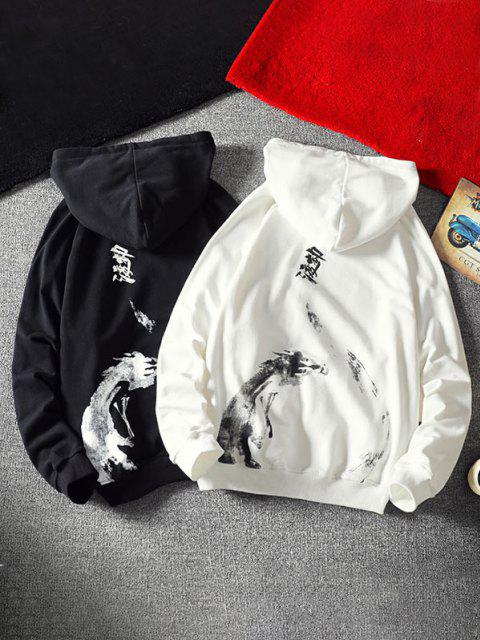 womens Front Pocket Letter Patched Oriental Graphic Hoodie - WHITE M Mobile