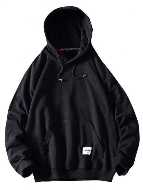 best Front Pocket Letter Patched Oriental Graphic Hoodie - BLACK XS Mobile