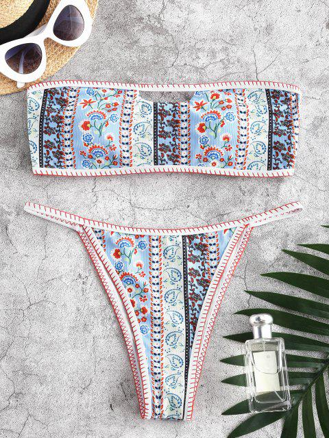 women's Jessica Stockstill X ZAFUL Ribbed Bohemian Flower Whip Stitching Bandeau Bikini Swimwear - LIGHT BLUE S Mobile