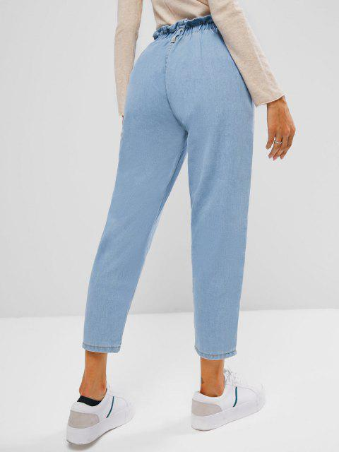 lady Button Fly Light Wash Paperbag Jeans - LIGHT BLUE S Mobile