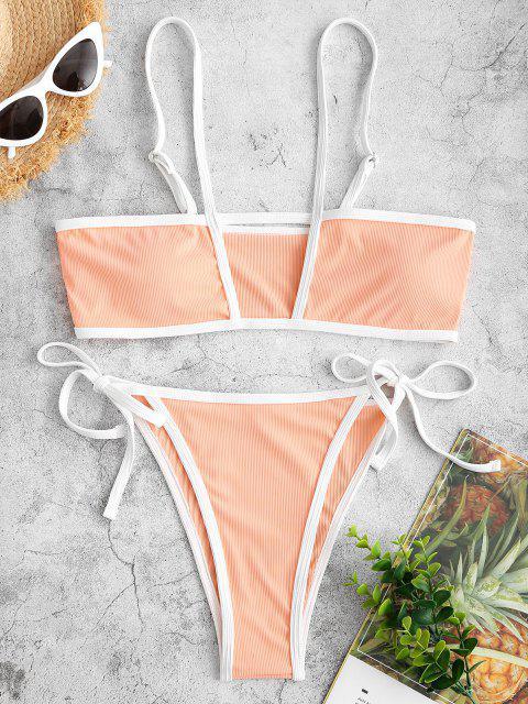 fancy ZAFUL Ribbed Cutout Tie Binding Tanga Bikini Swimwear - LIGHT ORANGE S Mobile
