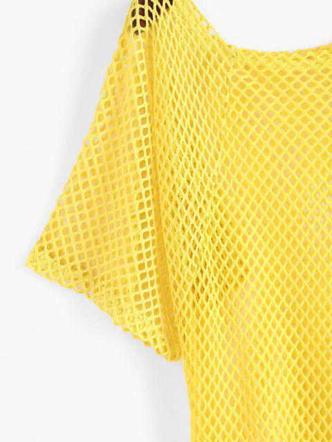 Durchbrochene Aushöhlte Cover-Up Kleid mit Unebenem Saum - Gelb Eine Größe Mobile