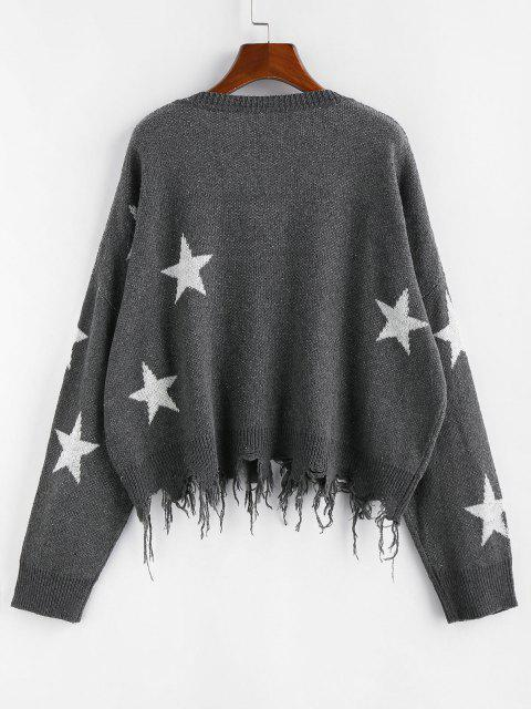 fashion ZAFUL  Ripped Stars Jacquard Sweater - GRAY L Mobile