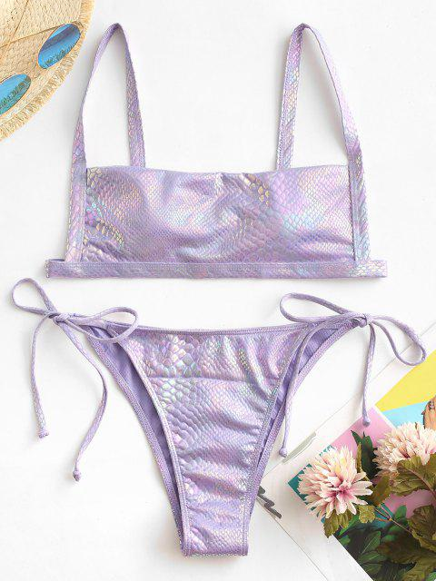 ZAFUL Bikini de Tie-dye con Nudo y Lateral - purpúreo claro M Mobile