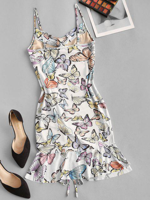 buy Cowl Neck Butterfly Print Cinched Ruffle Mesh Dress - WHITE M Mobile