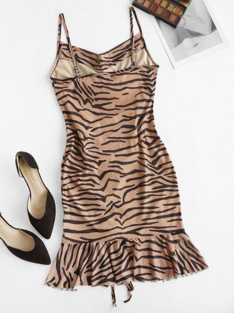 best Cowl Neck Zebra Print Cinched Ruffle Mesh Dress - LIGHT BROWN L Mobile