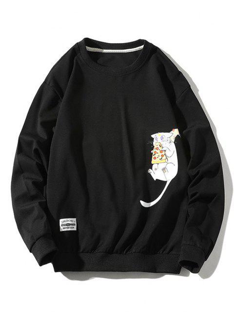 Cartoon Katzen Gedrucktes Buchstabe Applique Sweatshirt - Schwarz XL Mobile