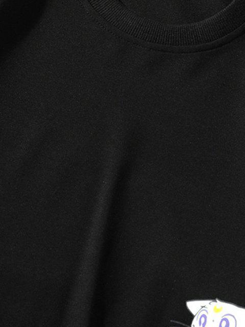 womens Cartoon Cat Printed Letter Applique Sweatshirt - BLACK XL Mobile