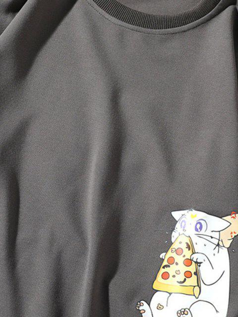 Cartoon Katzen Gedrucktes Buchstabe Applique Sweatshirt - Grau XL Mobile