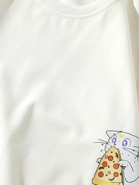 Sweat-shirt à Lettre et à Chat de Dessin Animé - Blanc XS Mobile