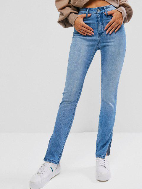 buy ZAFUL Slit Skinny Zipper Fly Jeans - LIGHT BLUE M Mobile