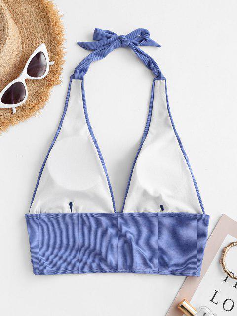 ZAFUL Ribbed Halter Plunge Padded Bikini Top - أزرق S Mobile