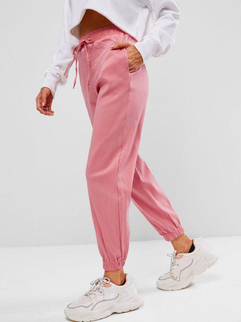 chic Drawstring Pocket Pull-on Beam Feet Pants - LIGHT PINK XL Mobile