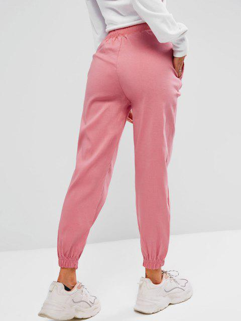 lady Drawstring Pocket Pull-on Beam Feet Pants - LIGHT PINK S Mobile