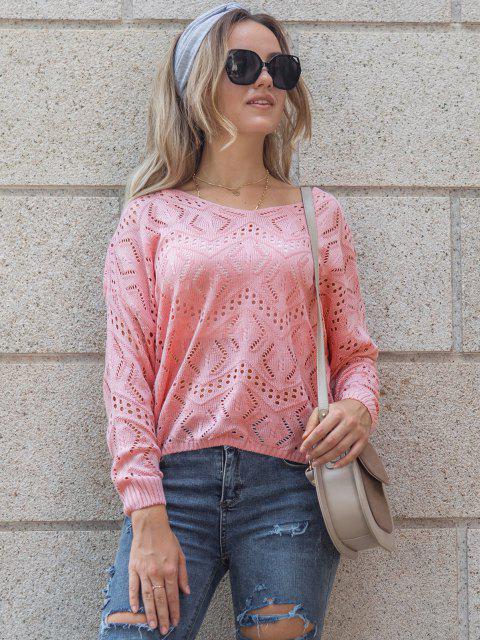Camisola de Ombro Aberto com Gota de Malha - Rosa Claro L Mobile